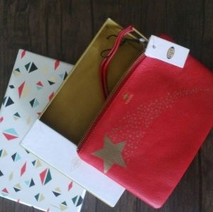NWT Fossil Brand Wristlet Red with Gold Stars